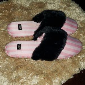 Victoria's Secret Shoes - Victoria's secret satin striped pink/blk slippers